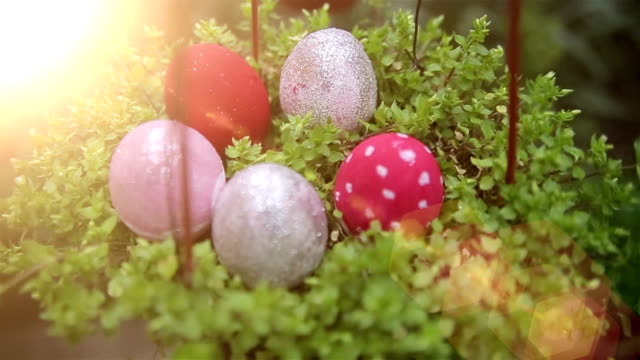 Beautiful Easter eggs in basket,close up