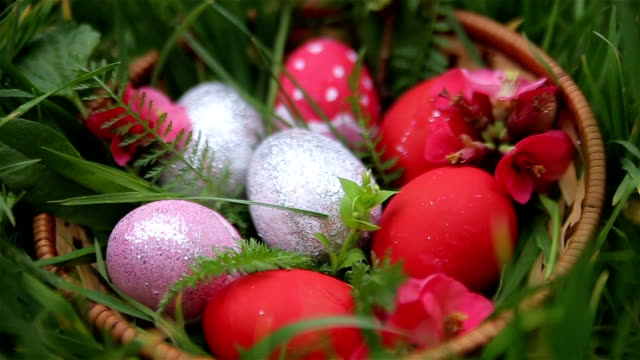 beautiful easter eggs in basket,tilt down - decoration stock videos & royalty-free footage