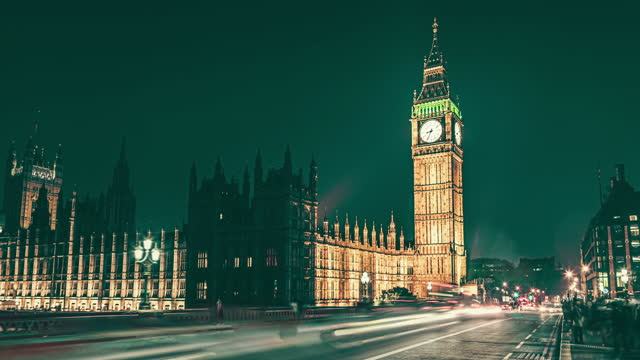 beautiful evening over famous big ben clock tower in london, uk. - parliament building stock videos & royalty-free footage