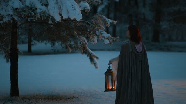 beautiful fairytale shot of young woman rising vintage lantern emitting warm light. medieval fantasy concept - fairytale stock videos & royalty-free footage