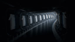 Beautiful Fast Flight Through the Endless Abstract Tunnel. Moving in Futuristic Spaceship Tunnel Looped 3d Animation. Seamless CG. Futuristic Technology Concept.