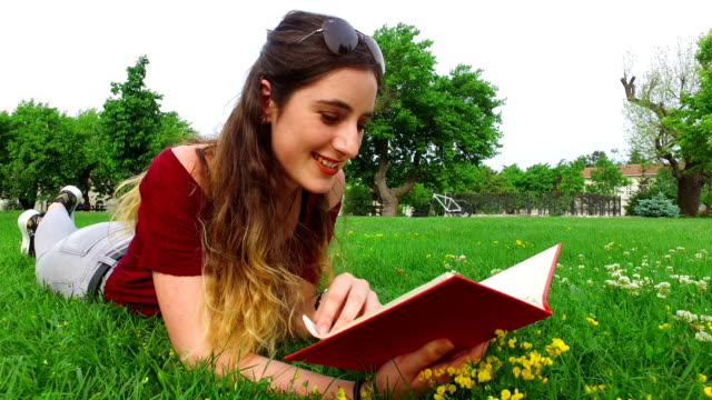 beautiful female student reading at the campus - reclining stock videos & royalty-free footage