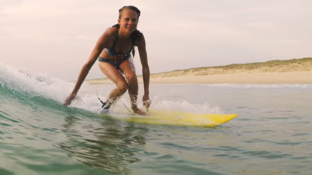Beautiful female surfer catching wave, laughing in bikini on surfboard in the ocean at sunset in Southern France