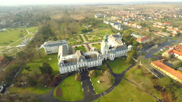aerial beautiful festetics palace - hungary stock videos & royalty-free footage