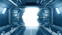 Beautiful Flight Out from the Abstract Futuristic Spaceship Tunnel Through Opening Metal Gates to White Light with Alpha Matte. 3d Animation.