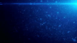 Beautiful Floating Blue Color Organic Dust Particles on Black Background in Slow Motion. Looped 3d Animation. Dynamic Wind Particles Flying In The Air With Bokeh Blur Seamless.
