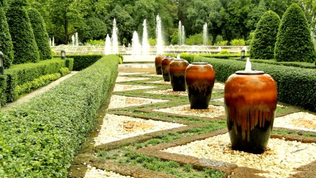 beautiful fountain garden - formal garden stock videos & royalty-free footage