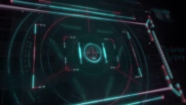 vídeos de stock e filmes b-roll de beautiful futuristic hud. numbers and code running. target scanner with radar rotation. head-up display computer data. high tech concept element. - cópia heliográfica