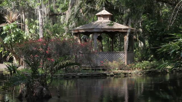 beautiful garden - gazebo stock videos and b-roll footage