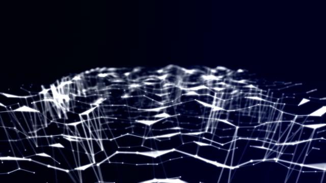 Schöne generierten 3D abstrakten Hintergrund mit Geometrielinien und Punkte auf dunklem Hintergrund