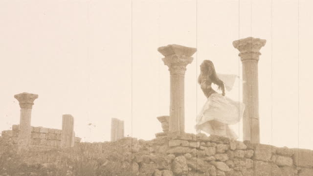 beautiful girl dancing in the ancient ruins - classical greek stock videos & royalty-free footage