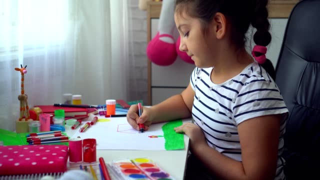 beautiful girl doing homework - pencil drawing stock videos & royalty-free footage