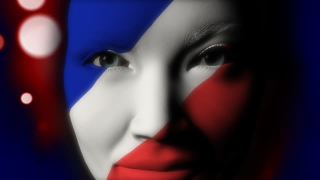 beautiful girl france flag face painted - french flag stock videos & royalty-free footage