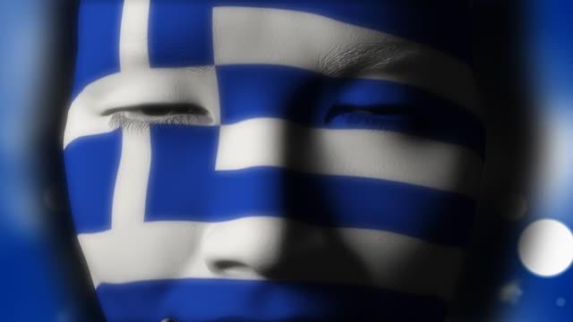 美しい少女ギリシャフラグフェイスペイント - ギリシャ国旗点の映像素材/bロール