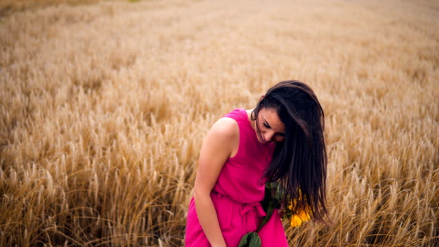 beautiful girl in a wheat field - gold dress stock videos & royalty-free footage