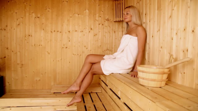 beautiful girl in sauna - sauna stock videos and b-roll footage