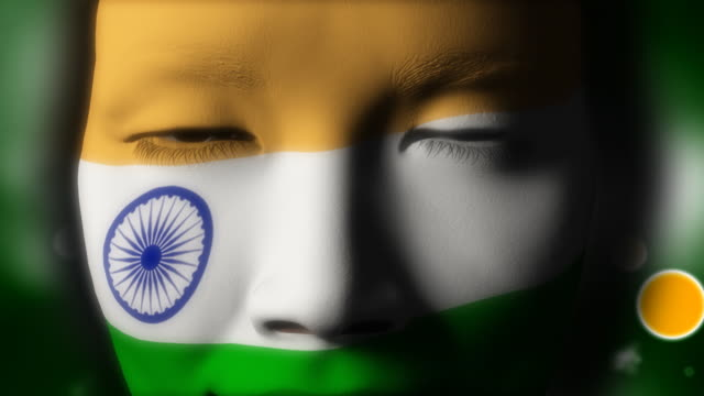 beautiful girl india flag face painted - indian flag stock videos & royalty-free footage