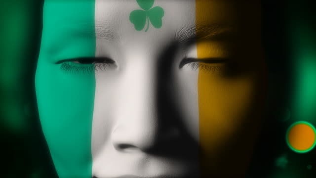 Beautiful girl IRELAND flag face painted
