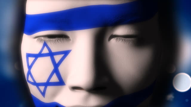 Beautiful girl Israel flag face painted