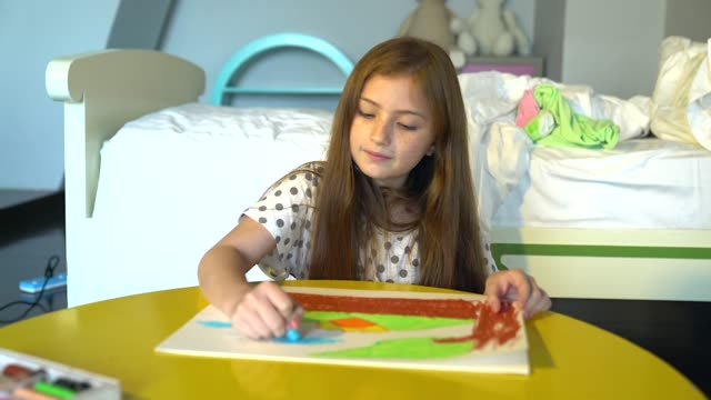 beautiful girl relaxing and doing some coloring in the living room. - freckle stock videos & royalty-free footage