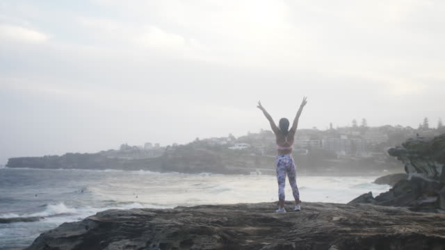 Beautiful girl rises her arms on the cliff near the ocean