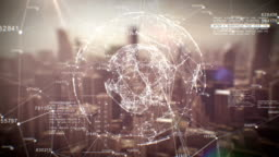Beautiful Global Business Hologram. Loop Animation of Digital Sphere over Abstract City. Business and Technology Concept. Ultra HD.