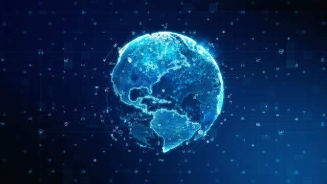vídeos y material grabado en eventos de stock de hermoso icono de datos aleatorios de global business network en space seamless - cubrir