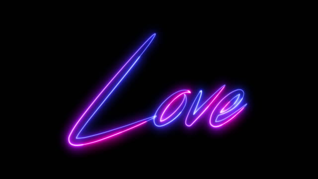 beautiful glowing pink neon titles - love. they can be used for a romantic, wedding video or valentine's day greetings. - neon stock videos & royalty-free footage
