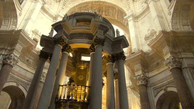 beautiful gold altar of cadiz cathedral in spain - cádiz stock videos and b-roll footage