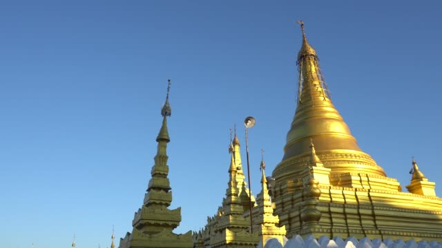 beautiful golden kuthodaw pagoda mandalay in myanmar - indigenous culture stock videos & royalty-free footage