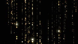 Beautiful Golden Rain Particles Falling Twinkling on Black Background Seamless. Looped 3d Animation of Abstract Dust Particles Forming Lines Flashing Bright.