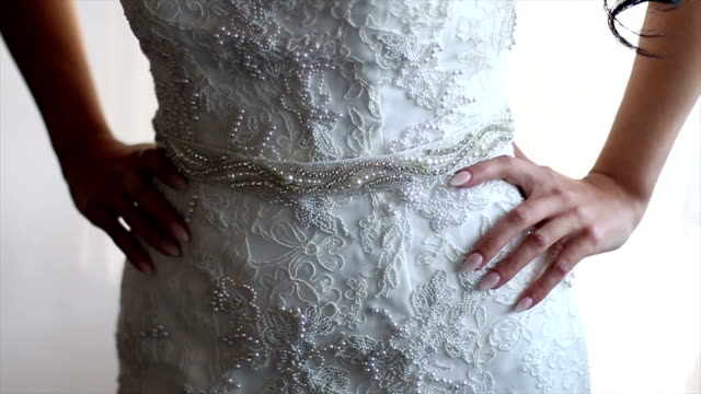 beautiful hands of bride - wedding dress stock videos and b-roll footage