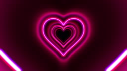 Beautiful Heart Shape Tunnel with Neon Light Lines Moving Fast Seamless. Abstract Romantic Futuristic Background Red, Pink, Purple Colors. Glowing Tunnel Looped 3d Animation.
