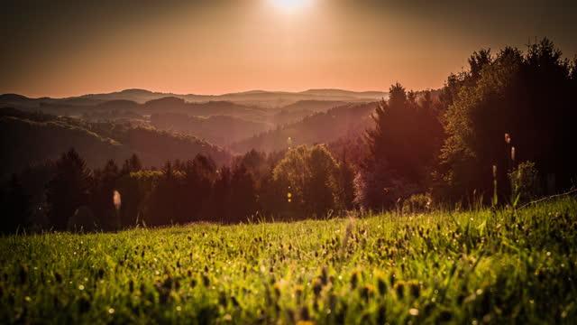 beautiful hill range at sunrise - crane shot - dreamlike stock videos & royalty-free footage