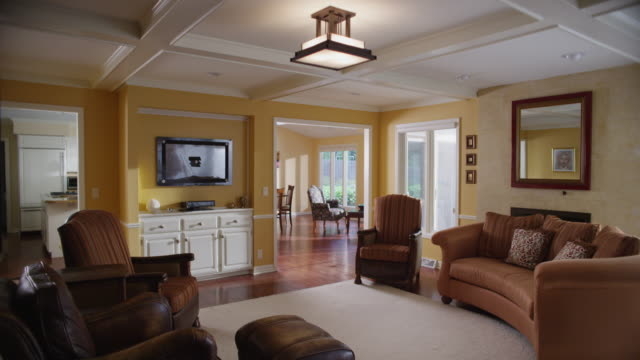 Beautiful interior home's living room and television with tracking marks for insertion of picture.