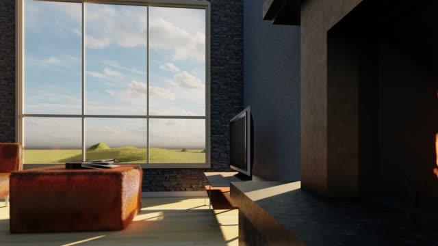大きなと毛皮のようなソファと美しいインテリア - 室内装飾点の映像素材/bロール