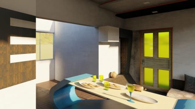 schönes interieur mit großem sofa - designer einrichtung stock-videos und b-roll-filmmaterial