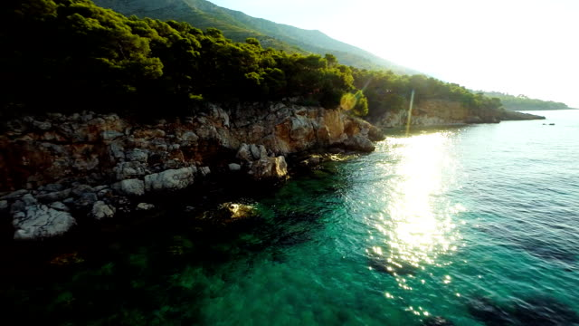 aerial beautiful island hvar - anchored stock videos & royalty-free footage