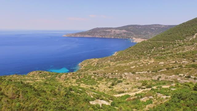 aerial beautiful island vis - steep hill stock videos & royalty-free footage