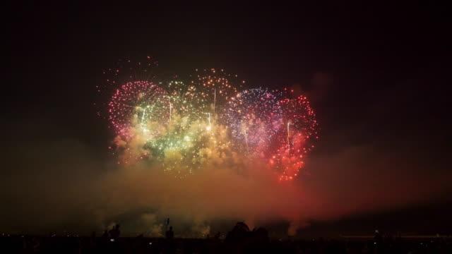 beautiful japanese fireworks - 夜遊び点の映像素材/bロール