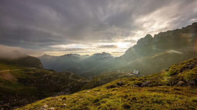 t/l beautiful julian alps at sunset - mountain pass stock videos & royalty-free footage