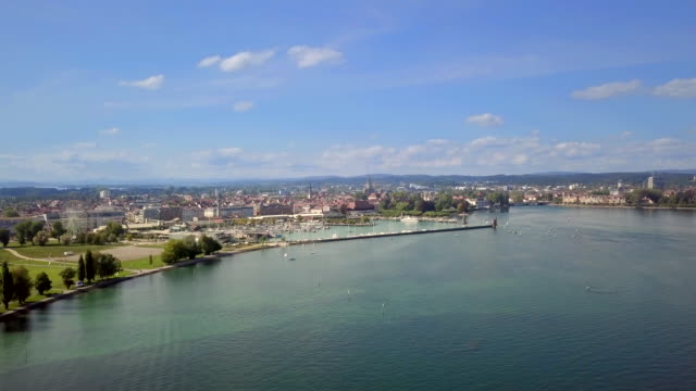 beautiful konstanz and kreuzlingen by lake constance on the border of germany and switzerland - coastal feature stock videos & royalty-free footage