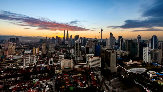 beautiful kuala lumpur skyline during dawn. timelapse. - film montage stock videos & royalty-free footage