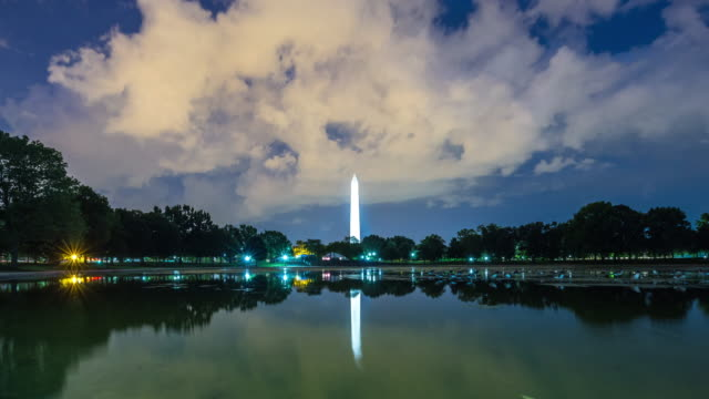 beautiful lake and illuminated tower at night time lapse - washington monument washington dc stock videos & royalty-free footage