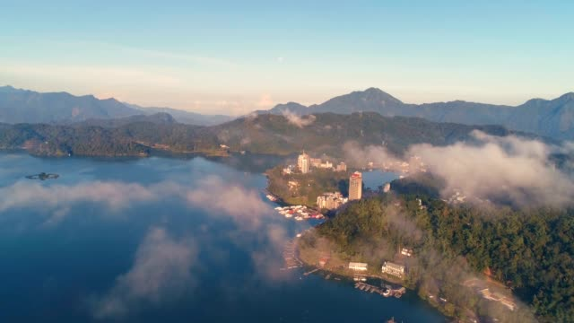 beautiful landscape of sun moon lake at dawn, taiwan - taipei stock videos & royalty-free footage