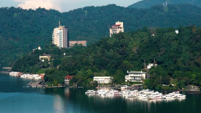 beautiful landscape of sun moon lake, taiwan - sun moon lake stock videos and b-roll footage