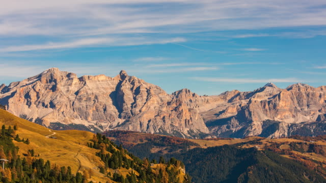 Beautiful landscape view of Gardena Pass in Val Gardena region, Dolomites, Italy