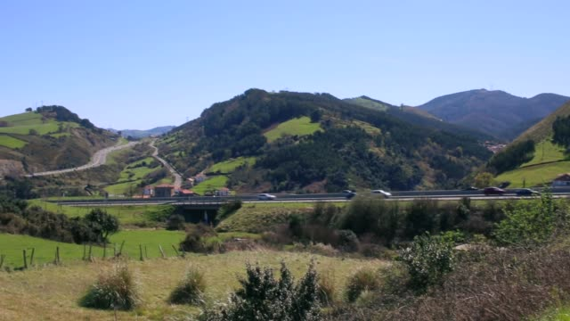 Beautiful landscape with the highway that connect Vizcaya with Cantabria