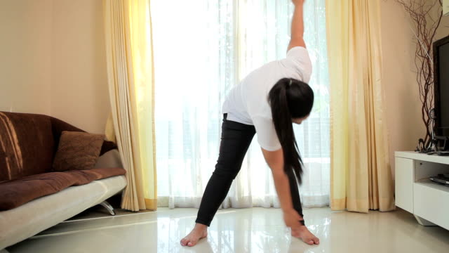 Beautiful large woman exercising
