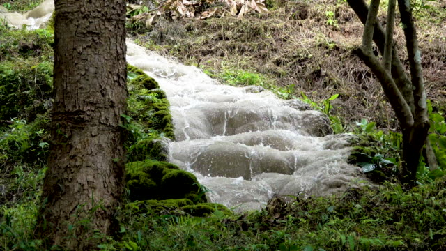4K Beautiful limestone waterfall in the nature